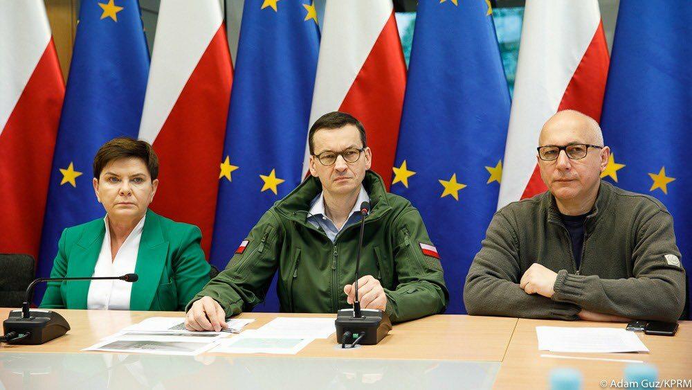 Premier Mateusz Morawiecki, wicepremier Beata Szydło oraz szef MSWiA Joachim Brudziński